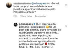 Juliana Paes se pronuncia após Bolsonaro desrespeitar jornalista: 'Péssimo, deselegante'