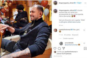 Com bota ortopédica, Diogo Nogueira canta em aniversário de Fátima Bernardes
